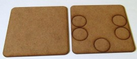 2mm thick MDF 100mm square weapons base with 5 crew 25mm base holes