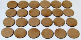 2mm thick MDF 25mm Round bases