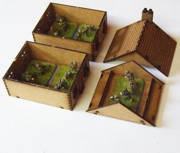 15mm Scale Ww2 European Terraced House Mdf Kit Style 1