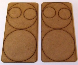 2mm thick MDF 60mm Round weapons bases with crew base holes