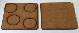 2mm thick MDF 70mm square weapons base with 4 crew 25mm base holes