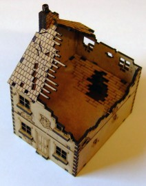 15mm WW2 1/2 Ruined Terraced House (Style 1)