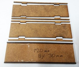 2mm MDF 120mm by 30mm movement trays
