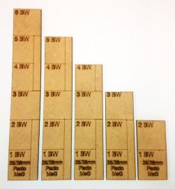MeG Pacto 25/28mm Scale Movement Ruler set