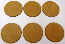 2mm thick MDF 60mm Round bases