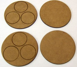2mm thick MDF 60mm Round 3 figure bases with crew base holes
