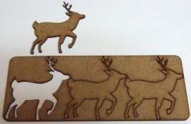 3 Deer Shapes 70mm x 67mm 2.2mm MDF