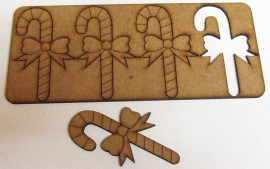 4 Candy Cane Shapes 74mm x 44mm 2.2mm MDF