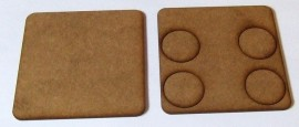 2mm thick MDF 80mm square weapons base with 4 crew 25mm base holes