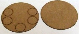 2mm thick MDF 100mm Round weapons base with 5 crew base holes